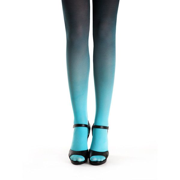 Turquoise-black ombre tights ❤ liked on Polyvore featuring intimates, hosiery, tights, turquoise tights, opaque stockings, opaque tights, ombre tights and ombre stockings