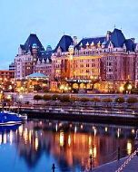 Victoria, British Columbia.  Go in summer to see the beautiful flower baskets all over town.