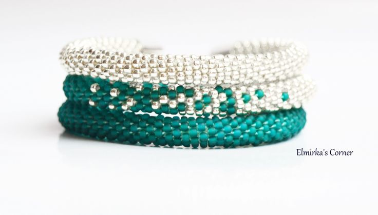 Matt bottle green with silver in the triple handmade bead bracelet  see more: https://www.facebook.com/ElmirkasCorner/posts/857355121038575