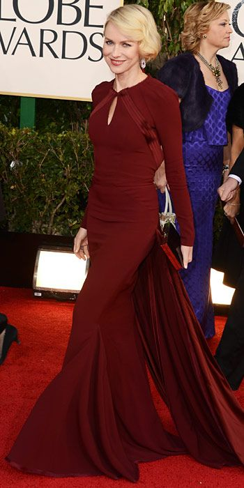 The Golden Globes 2013: Naomi Watts in a Zac Posen long-sleeved oxblood gown with a diamond cutout back and draped train. She finished the look with chandelier earrings and a glossy Salvatore Ferragamo box clutch.