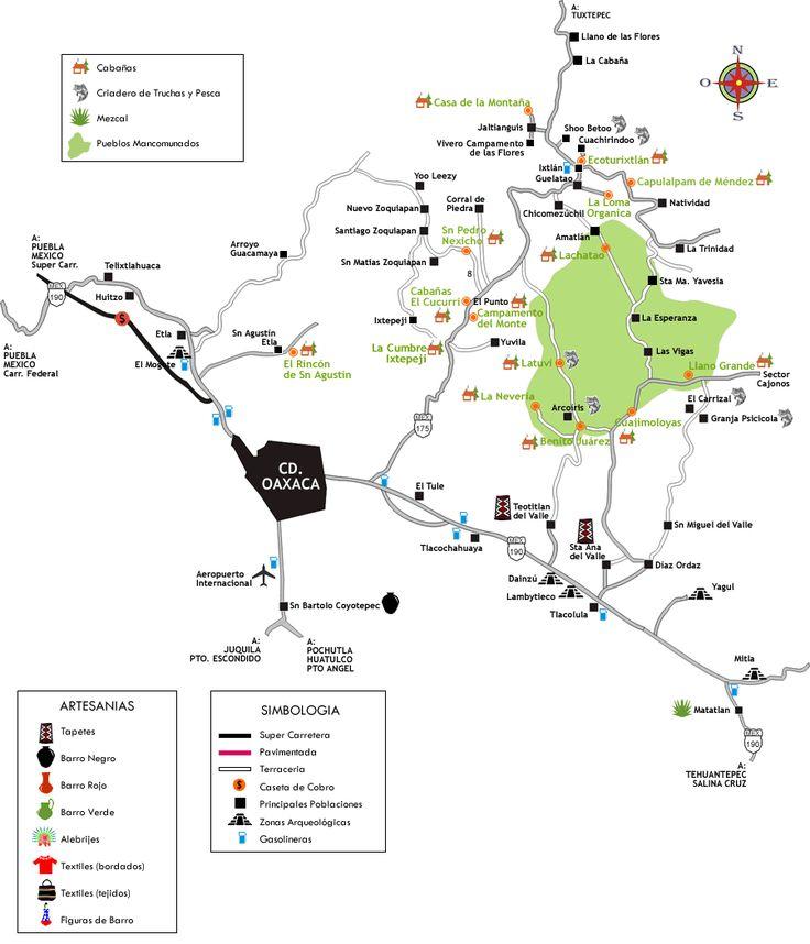 Mapa de la Sierra Norte y Valles Centrales Oaxaca Mexico