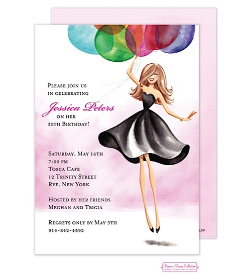 Bonnie Marcus | | Floating Party Girl Invitation (BM) | The PrintsWell Store
