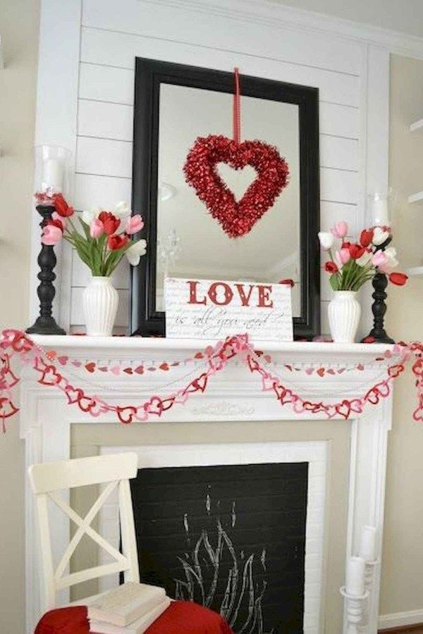 33 Best Beautiful Valentines Day Decorations Ideas 22 Valentine Mantle Decor Valentine Decorations Valentines Mantle