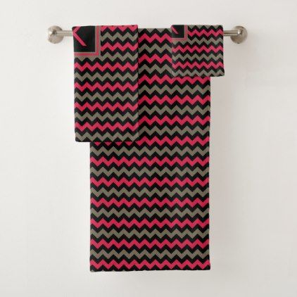 Monogrammed Crimson Brown & Black Chevron Pattern Bath Towel Set - monogram gifts unique custom diy personalize