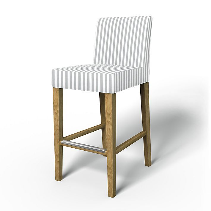 Henriksdal, Chair Covers, Bar stool, Regular Fit using the fabric Gotland Stripe Silver Grey/Absolute White