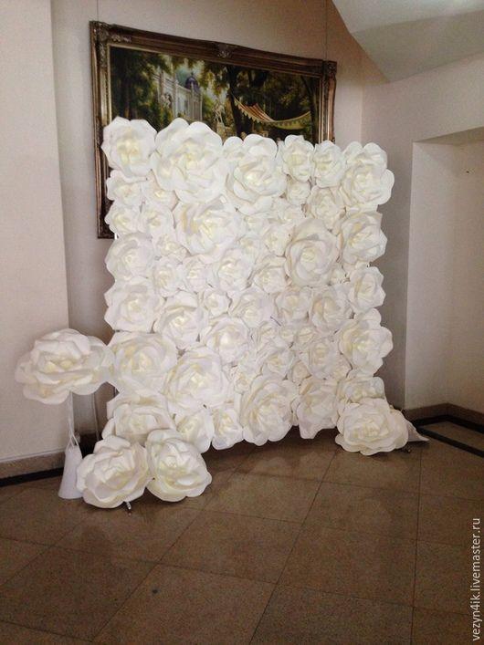 Свадебные цветы ручной работы. Пресс-волл с бумажными розами 2 (аренда). Семенова Татьяна. Ярмарка Мастеров. Задник