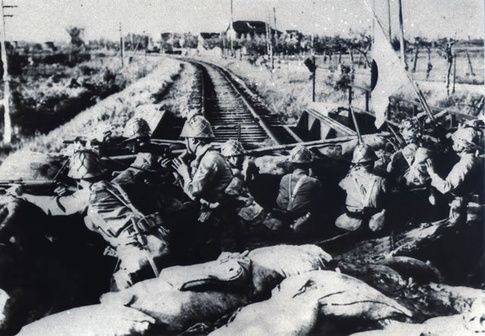 "Blaming Chinese terrorists for blasting a section of the Japanese-controlled South Manchurian Railway, Japanese troops occupied the city of Mukden (today's Shenyang City). The ""Mukden Incident"" of September 18, 1931 marked the beginning of Japan's full-scale invasion and occupation of northeastern China in line with Japan's rallying cry, ""To conquer China, we must first conquer Manchuria and Mongolia.""   What are the best photos of World War II? - Quora"