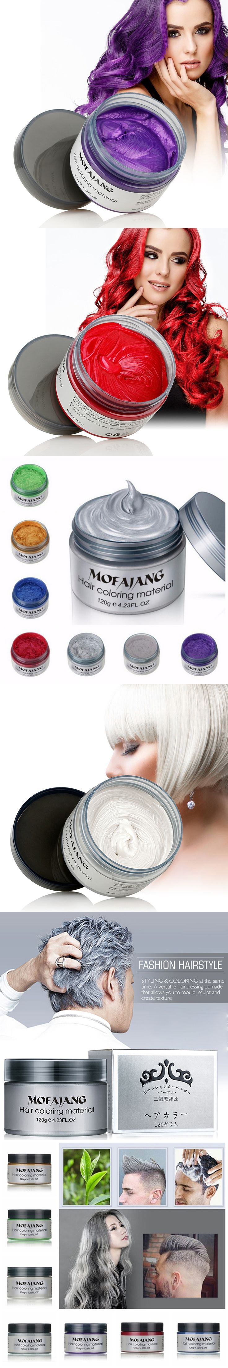 Color Hair Wax Styling Pomade Silver Grandma Grey Temporary Hair Dye Disposable Fashion Molding Coloring Mud Cream L0213