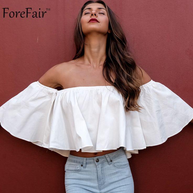 Aliexpress.com: Comprar Forefair trendy blanco ruffles off blusas hombro manga…