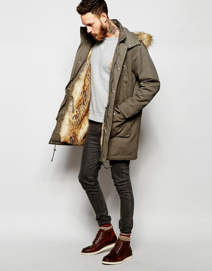 Image 1 of ASOS Faux Fur Lined Parka Jacket In Khaki