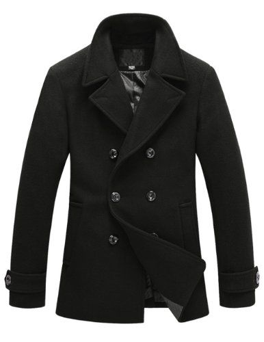 Match Mens Wool Classic Pea Coat Winter Coat ON SALE FOR WINTER STORM - Listing price: $99.99 Now: $29.99