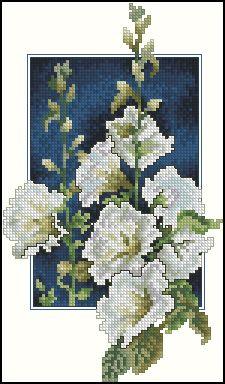 Cross stitch - flowers: Hollyhocks (free pattern - chart)