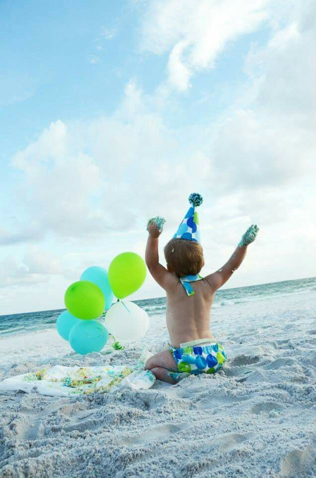 My sons first birthday. Smash cake on the beach