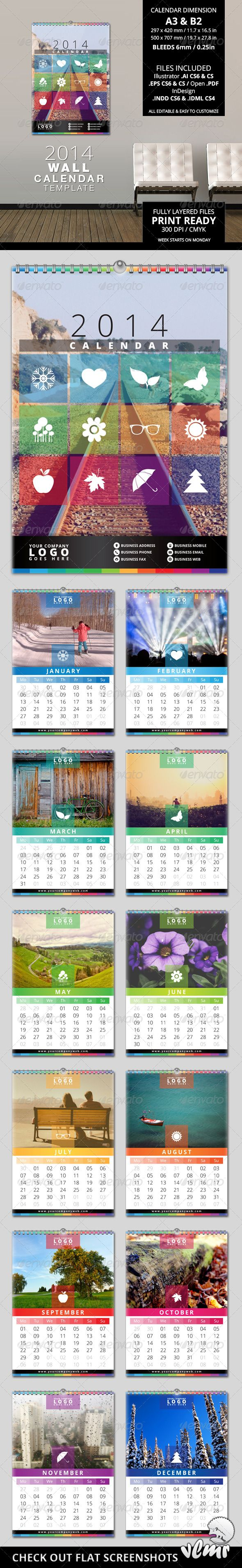 2014 Wall Calendar Template  #GraphicRiver
