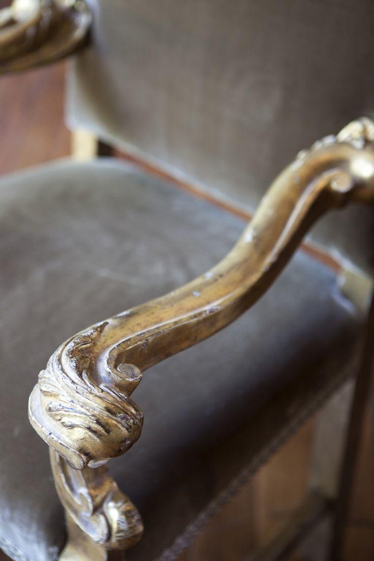 Soft grey velvet & aged gilt wood -- Ebanista Adorno Chair (detail)