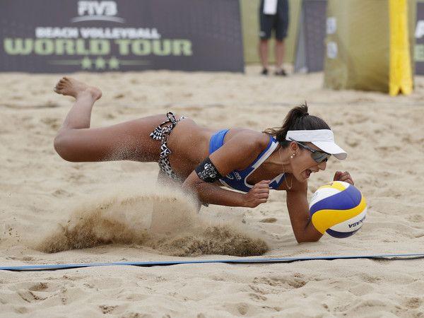 Barbara Seixas De Freitas of Brazil in action at the FIVB Beach Volleyball World Tour Xiamen Open 2017 on April 23, 2017 in Xiamen, China.