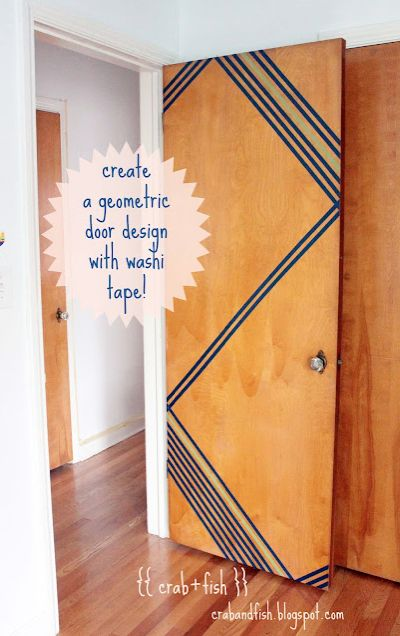 Spice up a boring door with washi tape