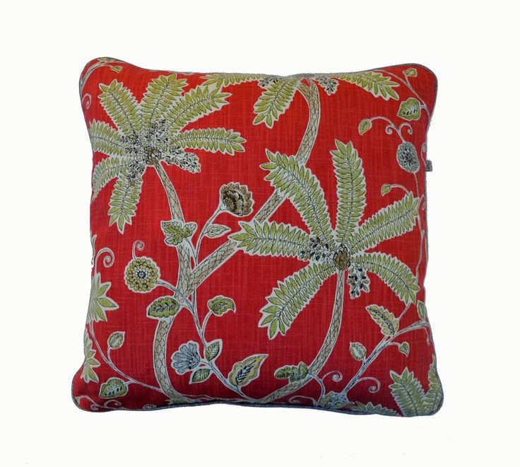 Indienne cushion - intricate design of palm trees on coral background:-)