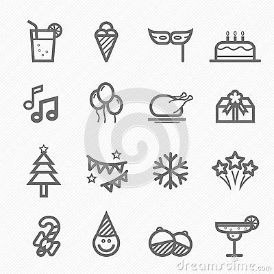 Party symbol line icon set by Ctrlaplus1, via Dreamstime