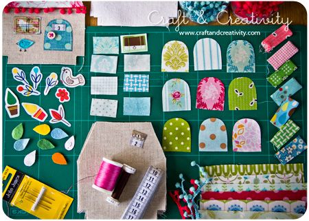 Fabric Houses DIY, pattern from Retro Mama.