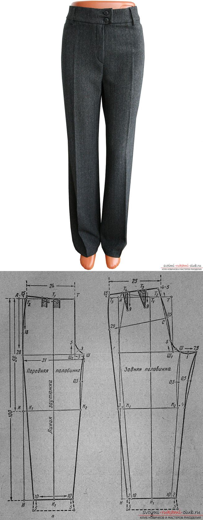 INSTRUCTIONS a drawing pattern of women's trousers classic models...♥ Deniz ♥