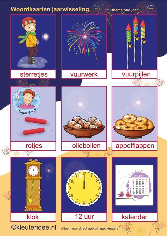 Woordkaarten bij thema Jaarwisseling voor kleuters, kleuteridee.nl, free printable