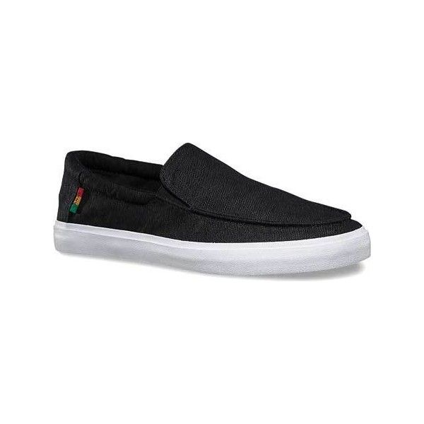 Men's Vans Hemp Bali SF Sneaker - Black/Rasta Casual ($52) ❤ liked on Polyvore featuring men's fashion, men's shoes, men's sneakers, black, casual, skate shoes, mens slip on shoes, mens loafers, mens slip on loafers and mens black skate shoes