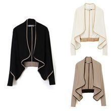 Otoño del resorte mujeres abrigo con hombreras de manga larga golpe Color de estilo europeo chaqueta corta 1 unid(China (Mainland))