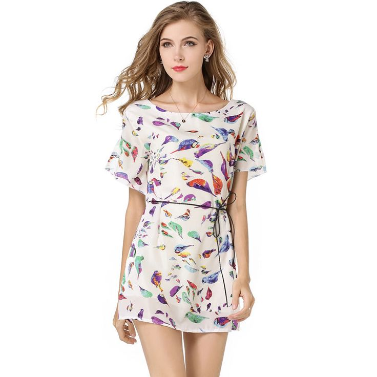 B135-M Scrawl Pattern Women Bat Sleeve Chiffon Bird Printed Dress Short Sleeves