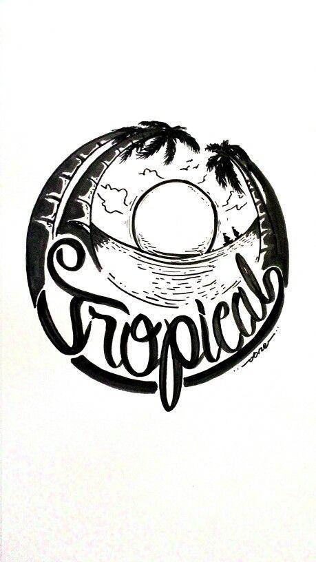 tropical #mural #logo #ink #tropical #beach