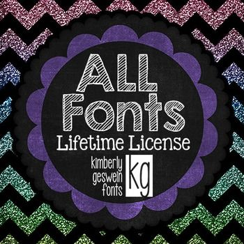 This license gives you unlimited usage of ALL of my (more than 340) fonts in your Teachers Pay Teachers products.Please note that this download contains only the license, not the fonts themselves.  You will need to download the fonts of your choice separately.