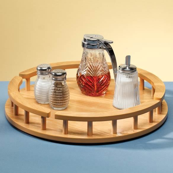 miles kimball large wood lazy susan is in diameter with wooden rail and spindles to stop items from tipping off use wood lazy susan for all your kitchen
