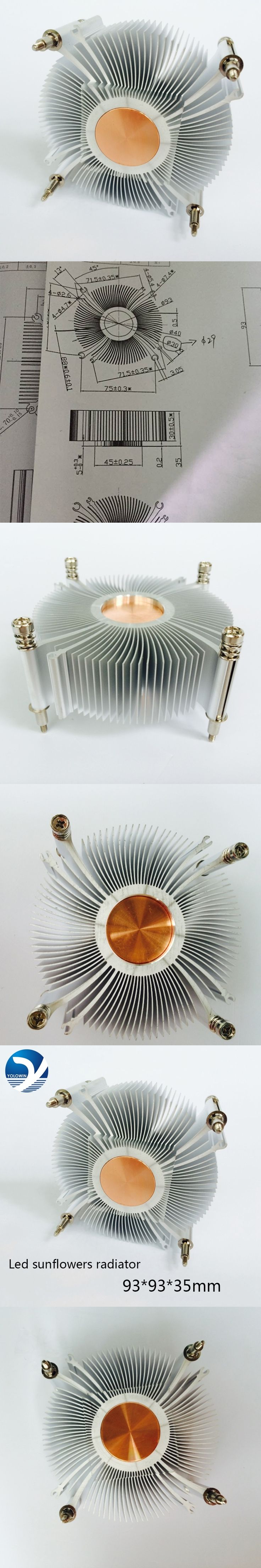CPU cooler radiator cooling heatsink for Intel LGA1155 / 1156 93*93*35mm Aluminum radiator fan cooling Computer heatsink YL-0047