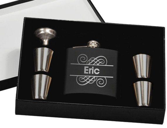 Flask Gift Set Personalized Groomsmen Gift  by UrbanFarmhouseTampa