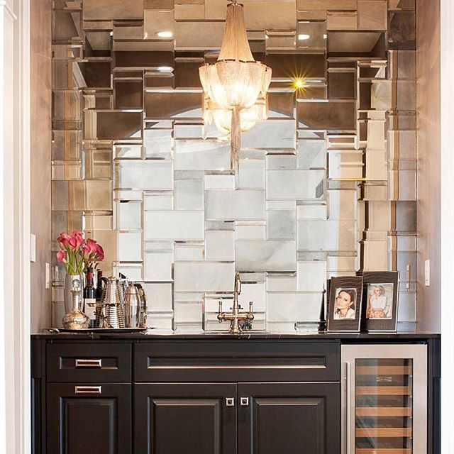 Wet Bar With A Mirrored Tile Wall Gorge Artistic