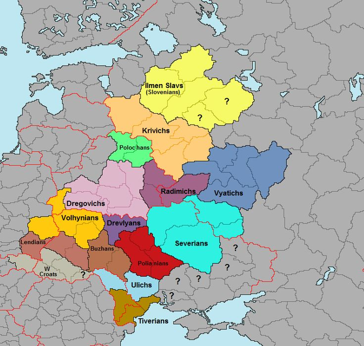 "Medieval slavic tribes around 800 CE before Vikings, Magyars, Pechenegs invaded. Tribes included are Ilmen Slavs - (called ""Slovenes"" or ""Slovenians"" in some sources), Krivichs, Polochans, Radimichs, Vyatichs (called ""Oka Basin Slavs"" in some sources), Dregovichs, Volhynians, Drevlyans, Polans (eastern) (Polianians to avoid confusion with the Polans of Poland), Severians, Buzhans, Ulichs, Tiverians. Also included are Lendians and White Croats, who are not East Slavic, but in the area."