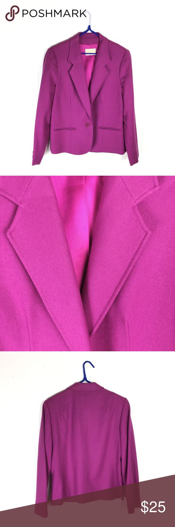 "Vintage Pendleton Magenta Purple Blazer Jacket 12 Vintage Pendleton Blazer in Magenta purple/pink. Satin lined. Very good condition. Shell 100% wool. USA. Size 12. Apx: 24"" long. 20"" underarm to underarm. Pendleton Jackets & Coats Blazers"