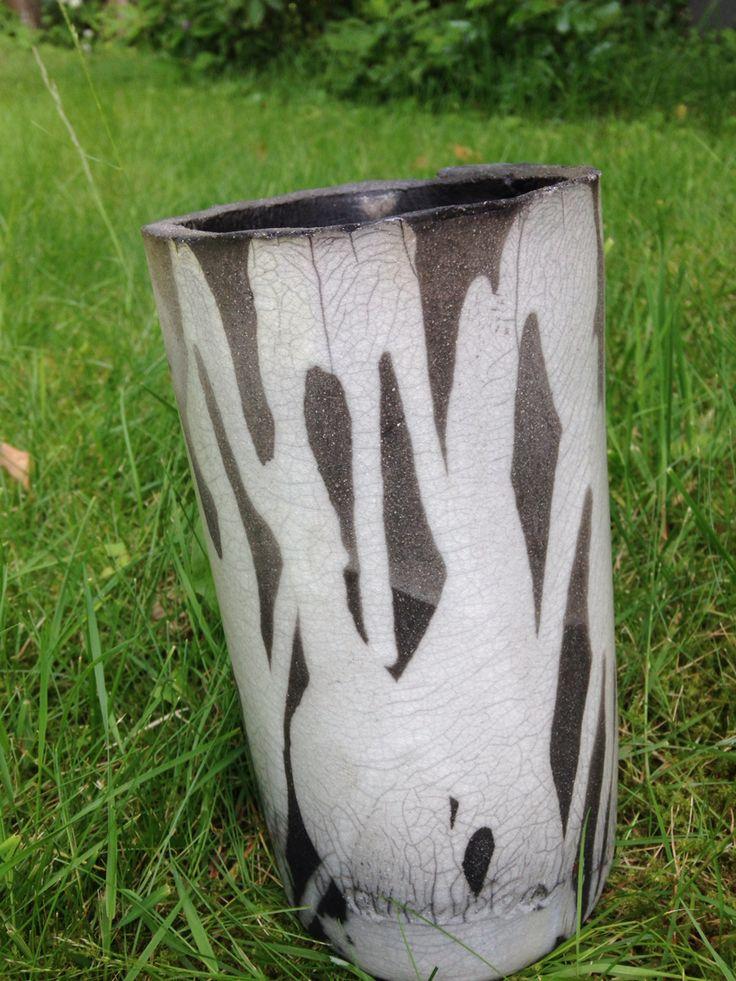 Pottery raku vase