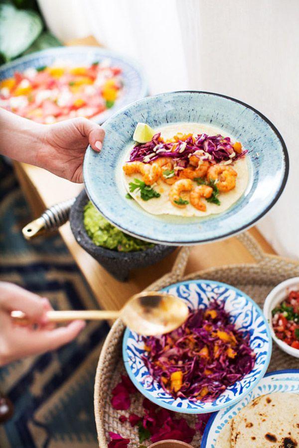 : shrimp tacos; fresh guacamole; watermelon, orange, and feta salad ...