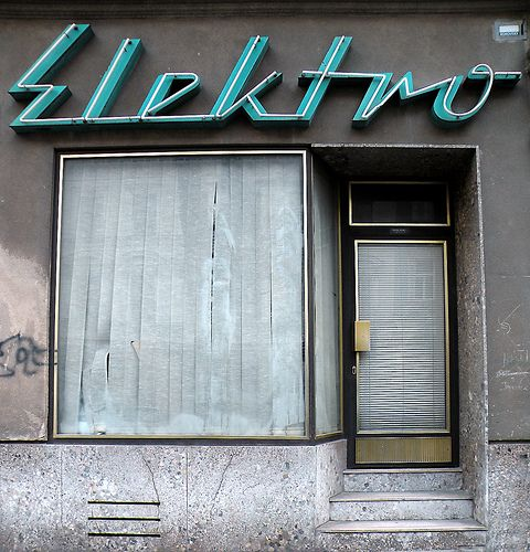 Elektro. Somewhere in the former GDR (East Germany) this place is quietly sleeping & waiting to be woken up to a new lease of life. This was a shop for electrical appliances or an electricians workshop but now long sine closed. It would make a great Cafe & you wouldn't even have to change the name ;)