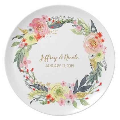 Gray Gold and Red Floral Wedding Dinner Plate - kitchen gifts diy ideas decor special unique individual customized