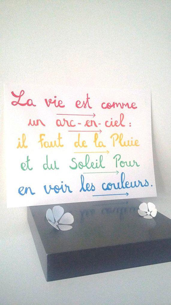affiche citation  La vie est comme un arc-en-ciel