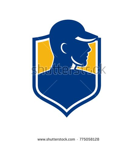 Icon style illustration of an Industrial Worker wearing hat set inside shield Crest on isolated background.  #worker #icon #illustration