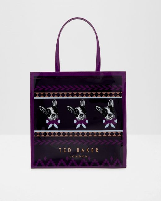 Cotton Dog Fair Isle large shopper bag - Navy | Bags | Ted Baker NEU