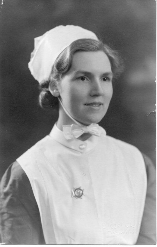 Professional Registered Nurse, England, circa 1930s or early 40s - Her cap is tied under her chin like a bonnet! / Interesting review article by John Derbyshire @ http://www.johnderbyshire.com/Opinions/Culture/nursing.html
