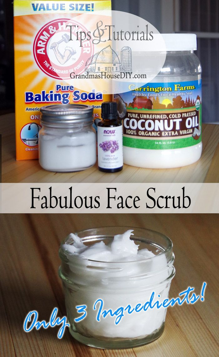 A wonderful face scrub wash recipe made out of baking soda, coconut oil and any essential oils you would like to add! A moisturizer and scrub all in one!