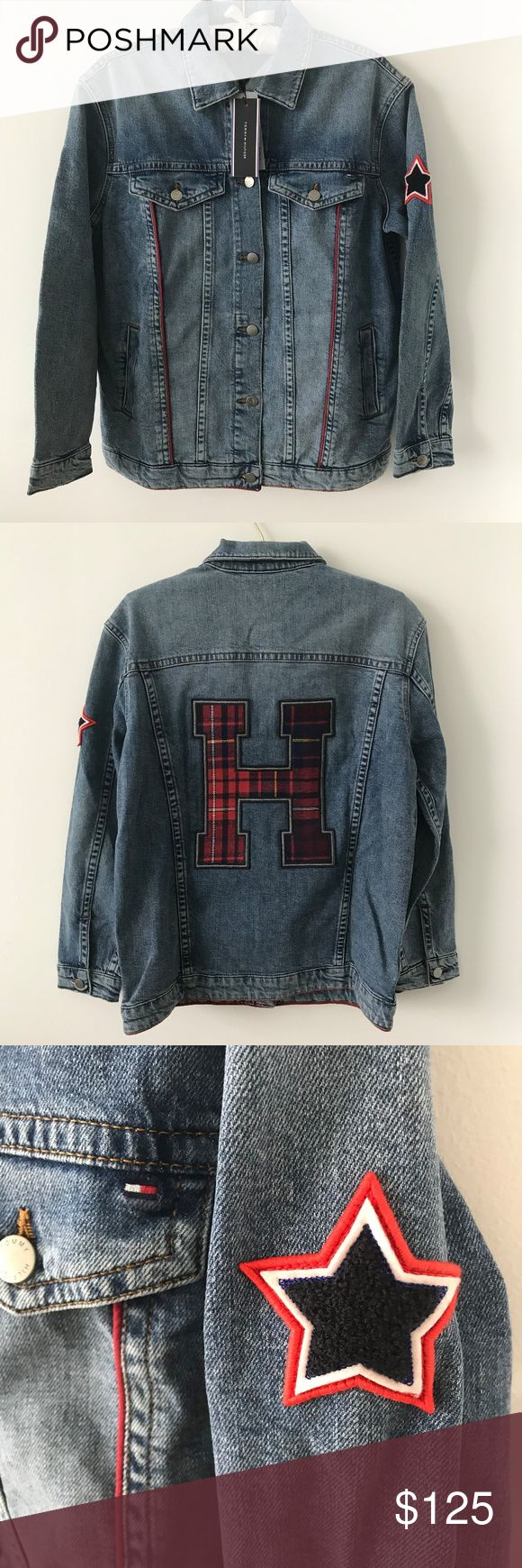 """Tommy Hilfiger Patched Boyfriend Jean Jacket Ultra cool women's jean jacket by Tommy Hilfiger. Iconic patchwork and a 90's inspired fit for a touch of rock and roll.   Brand new with tags. Originally $225 retail price (shown).  Size 6.  21"""" from pit to pit. 25"""" in length.  98% cotton; 2% elastane. Tommy Hilfiger Jackets & Coats Jean Jackets"""