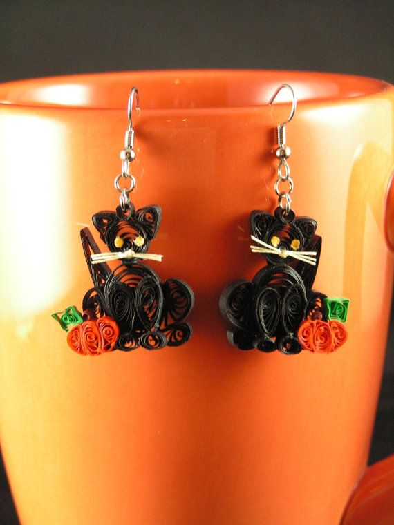 Quilled black cat earrings