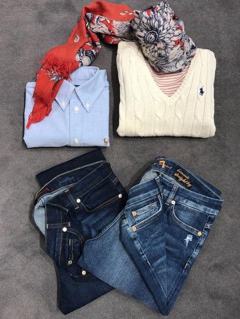 START En ny sæson med ... Lækre 7 Jeans stylet med klassisk strik og skjorte fra Polo Ralph Lauren fås i mange farver. Stribet t-shirt fra Closed og tørklæder i friske farver. God tirsdag FLOT