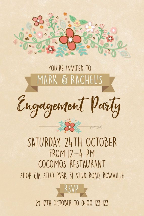 Engagement Party Invitations Custom Country by AmyGemptonDesign